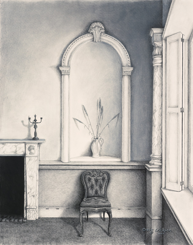 Hall and Chair, Charcoal, (c) 2003 by Craig Erickson