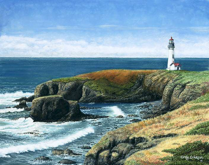 Yaquina Head, Oil Pastel